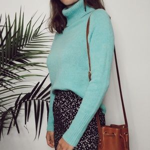 J Crew • collection cashmere teal turtleneck xs